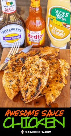 Awesome Sauce Chicken seriously delicious Only 3 ingredients Chicken marinated in honey mustard teriyaki sauce and hot sauce It tastes AWESOME Leftovers are great choppe. Crock Pot Recipes, Easy Chicken Recipes, New Recipes, Dinner Recipes, Cooking Recipes, Favorite Recipes, Healthy Recipes, Recipies, Recipes With Hot Sauce