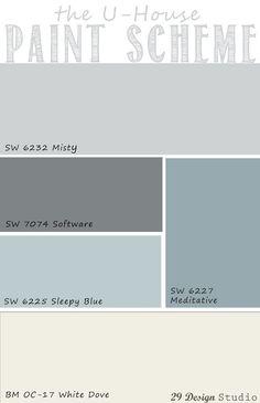 Light Blues Grays Neutrals Whole House Paint Scheme Paint Color Schemes, Room Paint Colors, Paint Colors For Home, House Colors, Playroom Color Scheme, Beachy Paint Colors, Grey Living Room Ideas Color Schemes, House Color Schemes Interior, Kitchen Paint Schemes