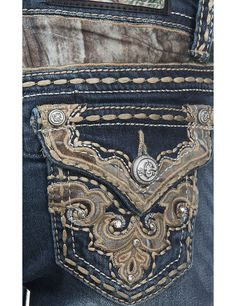 Grace in LA Girl's Dark Wash with Camo Back Yoke and Pocket Embroidery Western Boot Cut Jeans   Cavender's