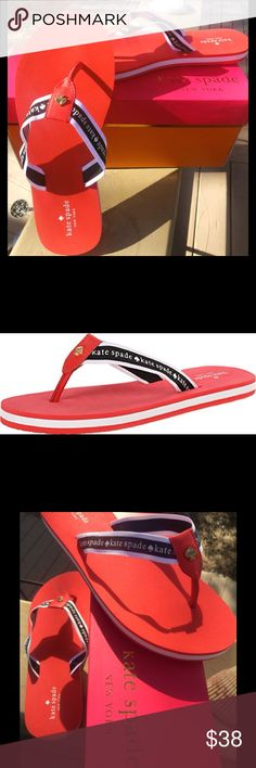 Kate Spade Fable Flip Flop Tomato Red Whether you're lounging poolside or bargain-hunting on the boardwalk, these comfy flip flop sandals from Kate Spade, done in a crisp, Sporty style are the perfect companion. These aware sold out everywhere! kate spade Shoes Sandals