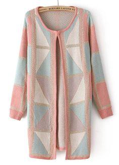Pink Long Sleeve Geometric Pattern Cardigan US$40.33