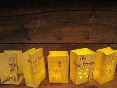 The Little Prince Collection, Petit Luminarias from Original Book Pages, Le Petit Prince, Antoine de Saint Exupery, Little Prince, Book Art