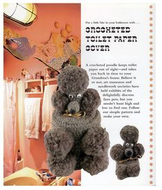Crocheted Poodle Toilet Paper Cover