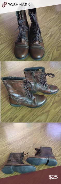 Steven Madden Lace Up Combat Boots Steven Madden Lace Up Combat Boots. This is a back to school must have! Wear them with your skinny jeans or a cute dress. Distressed brown leather! Also have zipper inside. See photo 2. Steve Madden Shoes Combat & Moto Boots