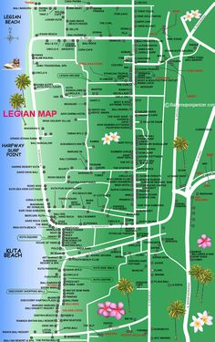 Legian Map is a tourist map information describing about Legian Village, north of Kuta Bali including hotels, restaurant, bars and tourist attractions Bali Legian, Bali Nusa Dua, Bali Cruise, Bali Family Holidays, Bali With Kids, Bali Baby, Kuta Beach, Voyage Bali, Bali Travel Guide