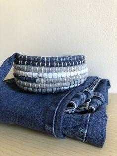 Jean Crafts, Denim Crafts, Artisanats Denim, Basket Weaving Patterns, Denim Ideas, Rope Crafts, Recycled Denim, Crochet Home, Fabric Scraps
