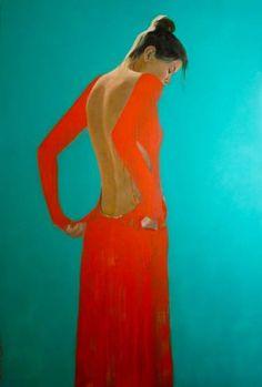 "Saatchi Art Artist Pascale Taurua; Painting, ""The red dress"" #art"