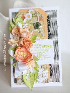 My creative corner: Card in peach and black...