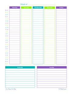 free printable, weekly planner, schedule, half hour increments...white out the times and just list cases?