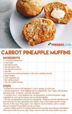 Good Morning Sunshine Muffins (Hearty Carrot Muffins with Coconut and Pineapple) Cranberry Muffins, Muffins Blueberry, Carrot Cake Muffins, Muffin Recipes, Baking Recipes, Breakfast Recipes, Dessert Recipes, Desserts, Cake Recipes