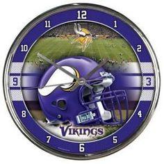 Minnesota Vikings Clock Round Wall Style Chrome