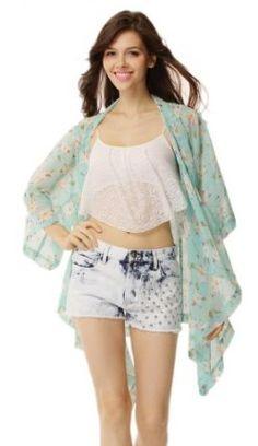 Amazon.com: Lookbookstore Women Floral Sheer Crop Sleeves Loose Chiffon Kimono
