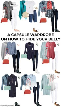 How to hide your belly with fabulous clothes - hide that tummy! Capsule Outfits, Fashion Capsule, Fashion Outfits, Fall Outfits, Over 50 Womens Fashion, Fashion Over 50, 60 Fashion, Fashion Tips, Plus Size Capsule Wardrobe