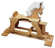 Amish Oak Wood Rocking Horse Glider Giddyup! This gorgeous solid wood rocking horse glider promises hours of fun. American made with oak wood. #rockinghorse #woodtoys
