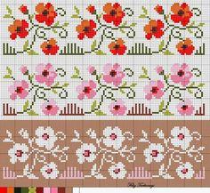 Bordado Passo a Passo: Gráficos de flores para ponto cruz