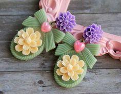 Cameo Earrings Cute Earrings Flower Earrings by GlitteredWhiskers