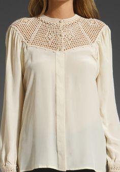 Beyond Vintage | White Crochet Yoke Blouse
