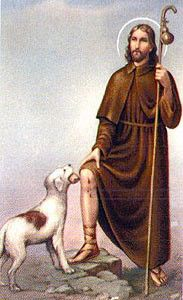 St Roch/Rocco - Patron of several Italian cities and against pestilence - Feast Day is August 16