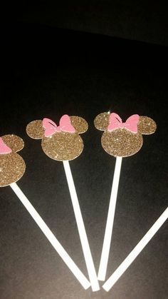 Minnie Mouse cupcake toppers. Pink and gold Minnie Mouse