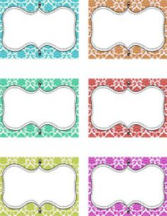 """Blank decorative tags in fun colors with damask background and a fun swirly frame.  Each tag is approximately 3"""" x 4"""".  Use for name tags, seating charts, labels; anywhere you need a tag!"""