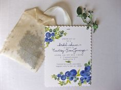 custom (tea style) blueberry wedding shower invitations | hand painted blueberries and hand lettered names w/ hand sewn silk teabag filled with lavender buds | designed by Breanna of Paper & Ink blog