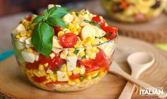 The Slow Roasted Italian - Printable Recipes: Fresh Corn, Tomato and Mozzarella Salad Corn Recipes, Side Dish Recipes, Salad Recipes, Side Dishes, Summer Corn Salad, Summer Salads, Vegetarian Recipes, Cooking Recipes, Healthy Recipes