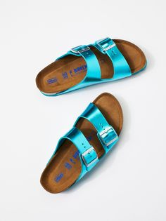 Birkenstock Arizona Metallic Birkenstock at Free People Clothing Boutique Sandals Outfit, Shoes Sandals, Heels, Metallic Blue, Metallic Leather, Sandalias Teva, Sock Shoes, Shoe Boots, Hype Shoes