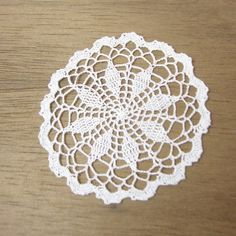 Miniature crochet round doily in white 1:12 dollhouse by MiniGio