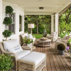 Summer porch with topiaries