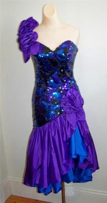 Vtg 80s Glam One Shoulder Sequin Ruffle Prom Formal Party Dress Costume Sz 6 S | eBay