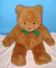 "Vintage 1987 GUND JC Penny's Teddy Bear With Green Bow 22"" Stuffed Animal Plush"