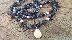 Excited to share the latest addition to my #etsy shop: Vintage Artisian Black and Gray Marbled Moonstone Necklace, Pebble Pendant Necklace, Multi Stone, Black Moonstone Double Strand Necklace http://etsy.me/2HN2Ovk #jewelry #necklace #gray  #artisannecklace #marbled