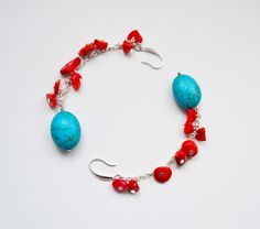 Turquoise earrings. Long earrings. Red and blue Turquoise earrings. Semi-Precious Gemstone. Red Coral Chip Beads