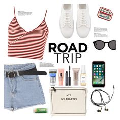 """""""Road Trip!"""" by chakragoddess ❤ liked on Polyvore featuring Topshop, Bag-All, Ouai, Laura Mercier, Urban Decay, Neutrogena, Thierry Lasry and Mokuyobi Threads"""