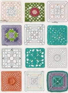 Very pretty Crochet Pillow. This is not in English, but the crochet diagram should be sufficient. Discover thousands of images about Crochet granny square baby blanket pillow cushion afghan throw blanket Crochet fabric is a very popular option for liningH Crochet Flower Squares, Crochet Motifs, Granny Square Crochet Pattern, Crochet Blocks, Crochet Diagram, Crochet Chart, Crochet Granny, Crochet Flowers, Crochet Stitches