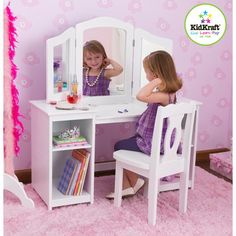 KidKraft Deluxe Vanity and Chair, beautiful white vanity set with plenty of storage room. Our Deluxe Vanity & Chair set is made by KidKraft. Mirror, Mirror, the attached mirror allows girls see themselves from three angles, this way they get the side Kids Vanity Set, Girls Vanity, Vanity Set With Mirror, White Mirror, White Vanity, Toddler Vanity, Mirror Desk, Little Girl Vanity, Dressing Table With Chair