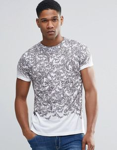 Image 1 of River Island Roll Sleeve T-Shirt In White With Monochrome  Tropical Print 15dc00719ddf