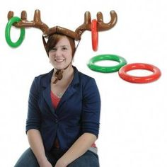 9572527a9a6b9 Christmas Party Inflatable Reindeer Ring Toss Hat