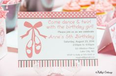 Ballerina Birthday Party Invitation... Custom, Printable