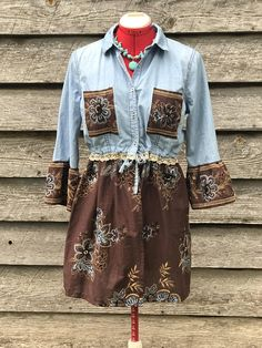 Upcycled Boho Shabby Chic Lagenlook Chambray Shirt Tunic Top Dress Size Med with Vintage Lace Embroidered Embellishments and Bell Sleeves #upcycled #refashion #affiliate #dress #vintage