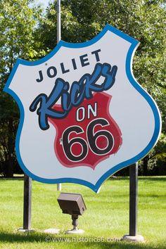 "Joliet, IL - 2014 : The Route 66 park has a 12-foot tall ""Joliet Kicks on Route 66 shield""."