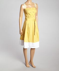 Look what I found on #zulily! Style NY Mustard Double-Breasted A-Line Dress by Style NY #zulilyfinds