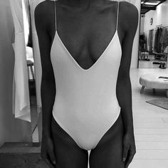 Simple white bathing suit