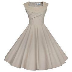97d29e2c8b0b Women s Plus Size Party Vintage A Line Dress - Solid Colored Square Neck  Cotton Khaki Royal Blue Lavender XL XXL XXXL