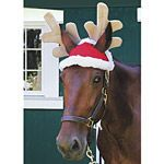 Antler Christmas Hat for Horse. Perfect for great holiday photos with your horse! Antler Hat fits comfortably with two ear holes; antlers are wired to stay up. Stocking cap-style Santa Hat fits over one ear and has a fluffy white snowball on the end. Both slide easily onto headstall or halter.. Price: $26.95