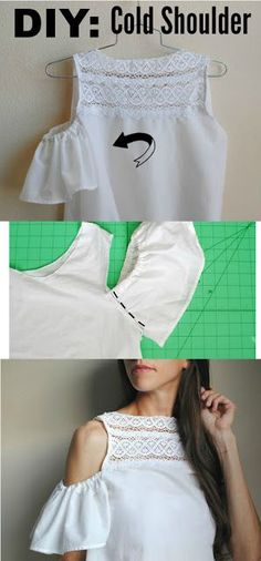 """Trash to Couture: All about sleeves: How to add the """"cold shoulder"""" - Do it Yourself Clothes Diy Clothes Refashion, Shirt Refashion, Diy Shirt, Diy Clothing, Sewing Clothes, Clothing Patterns, Sewing Patterns, Refashioned Clothes, Sewing Shirts"""