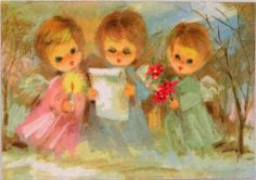 #1232 60s Unused Mod Era Soft Pastel Angels- Vintage Christmas Greeting Card