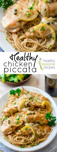 Healthy Chicken Piccata recipe | ready in 30 minutes and under 300 calories | healthyseasonalrecipes.com