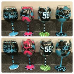 Carolina Panther wine glasses