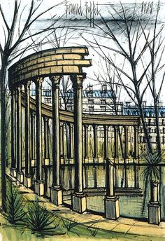 Bernard Buffet, La Naumachie du Parc Monceau - 1989 oil on canvas - 130 x 89 cm Buffet, Expressionist Artists, Illustrator, Paris Pictures, Impressionism Art, French Artists, Pictures To Draw, Beautiful Paintings, Oeuvre D'art
